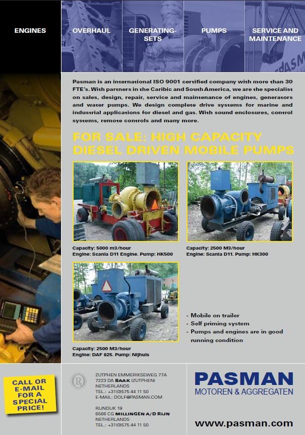 Flyer for sale 3 pumps Pasman Motoren