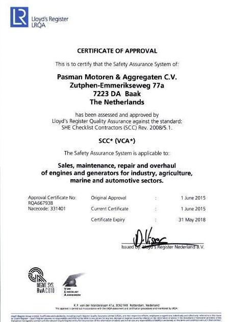 Pasman Lloyd's VCA certificate